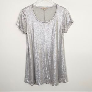 ANTHROPOLOGIE Glimmered Tee S Metallic Silver Top